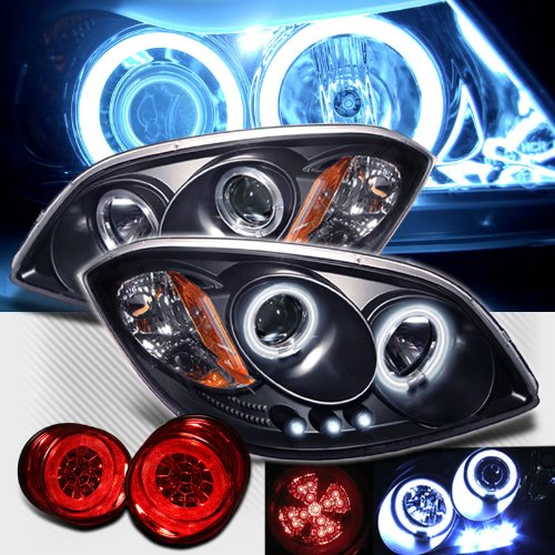 Rxmotoring 2005-2007 Chevy Cobalt Projector Ccfl Halo Headlights + Led Tail Light