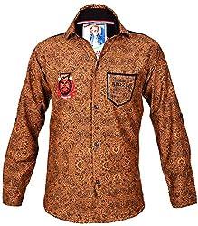Kidzee 100% Cotton Boy's Printed Casual Khakhi Color Shirt