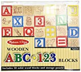 Melissa and Doug Deluxe 50-piece Wooden ABC 123 Blocks Set (colors may vary)