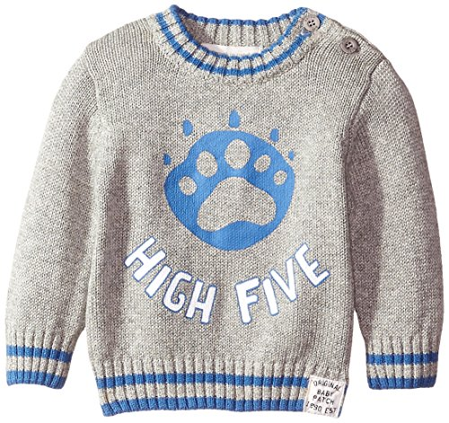Pumpkin Patch Baby Boys' Long Sleeves High Five Print Jumper, Grey Speckle Marle, 0-3 Months