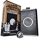 The Premium Shot Flask (8oz) - Includes a Built-in 2oz Collapsible Shot Glass and Bonus Funnel - Leak Proof - Food Grade 304 18/8 Stainless Steel and Black Leather Wrap by Future Hydrate (Black, 8 oz)
