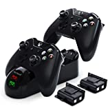YCCTEAM Xbox Controller Charger, Xbox One Battery Pack Rechargeable for Xbox One, Xbox One X, Xbox One S, Xbox One Elite Controller, Xbox One Charging Station with 2pcs 1200mAh Rechargeable Battery (Color: Black)
