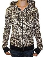Womens Leopard Animal Print Zip Up Hooded Top Hoodie