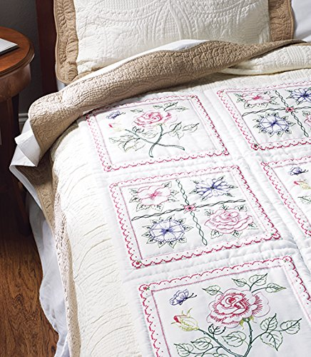 BUCILLA 46066 Floral Stamped Quilt Blocks