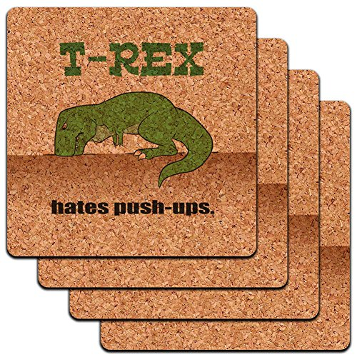 """Custom & Cool {4"""" Inches} Set Pack of 4 Square """"Grip Texture"""" Drink Cup Coaster Made of Cork w/ Cute Cartoon T-Rex Hates Push-Ups Design [Beige, Black & Green Colors]"""