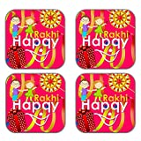 MeSleep Happy Rakhi Wooden Coaster-Set Of 4