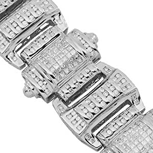 14K White Gold Mens Diamond Hip Hop Bracelet 13.25 Ctw