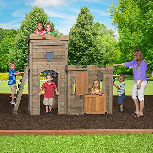 Castle-Playhouse-Cedar-Wood-Kids-Outdoor-Play-Fun-Garden-Yard