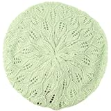 Pastel Pointelle Vented Soft Knit Lurex Shimmer Beret Beanie Hat Cap Tam Lime