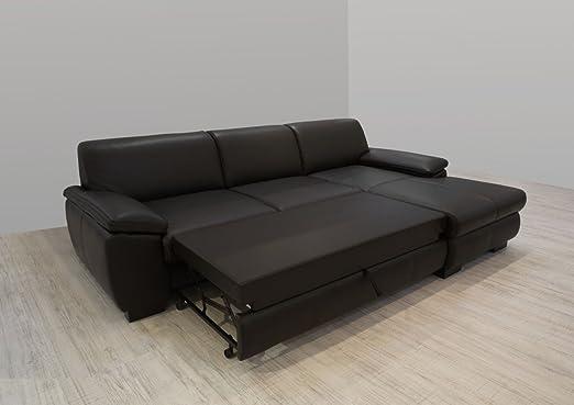 Dreams4Home Polsterecke Collo Ecksofa Couch Kunstleder Polstergarnitur Schlaffunktion dunkelbraun, Aufbauvariante:Longchair/Ottomane rechts