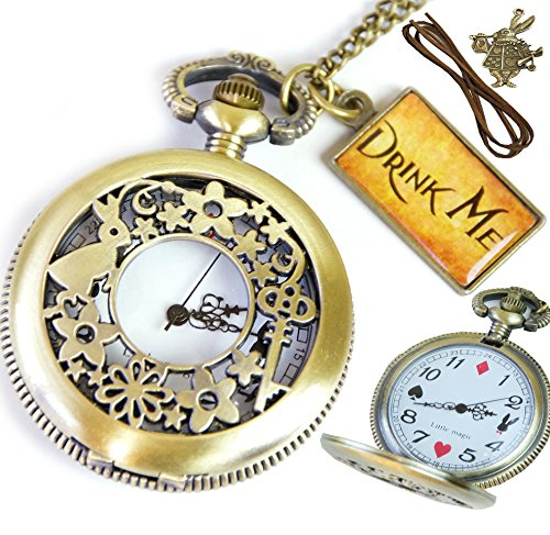 [Natural life the Natural life * antique Alice pendant Pocket Watch retro ** cute * drink with me * import