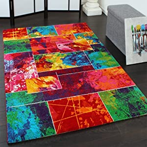 tapis moderne patchwork multicolore tendance design egay m lange de couleurs dimension 120x170. Black Bedroom Furniture Sets. Home Design Ideas