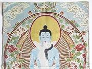 チベット 仏 教 シルク 織物 金糸 刺繍 タンカ (男女 両尊 歓喜 仏 ヤブユム 座 90×60cm)