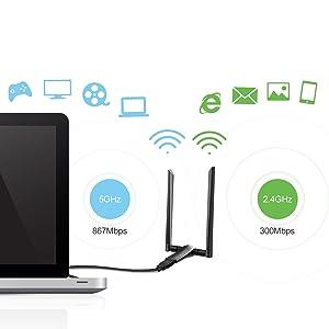 meross AC1200 Wireless Adapter USB 3 0 Wi-Fi Adapter w/2x