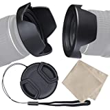 waka 55mm Camera Lens Hood Set, Reversible Tulip Flower Lens Hood + Center Pinch Lens Cap with Cap Keeper Leash + Microfiber Lens Cleaning Cloth for Nikon, Canon, Sony & Other DSLR Cameras (Tamaño: 55mm)