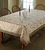 "Luxury Damask Design Tablecloth Beige 60"" by 160"" Oblong / Rectangle"