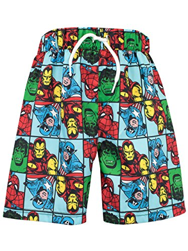Marvel Comics Boys Marvel Spiderman Iron Man Hulk & Captain America Swim Shorts Age 10 (Men Swim Trunks Captain America compare prices)