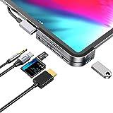 iPad Pro USB C Hub, iPad Pro 2018 Docking Station, Baseus 6-in-1 Aluminum iPad Pro Dongle USB Type-C Adapter with 4K HDMI, USB-C PD Charging, SD/Micro Card Reader, USB 3.0 & 3.5mm Headphone Jack (Color: Deep Space Grey)
