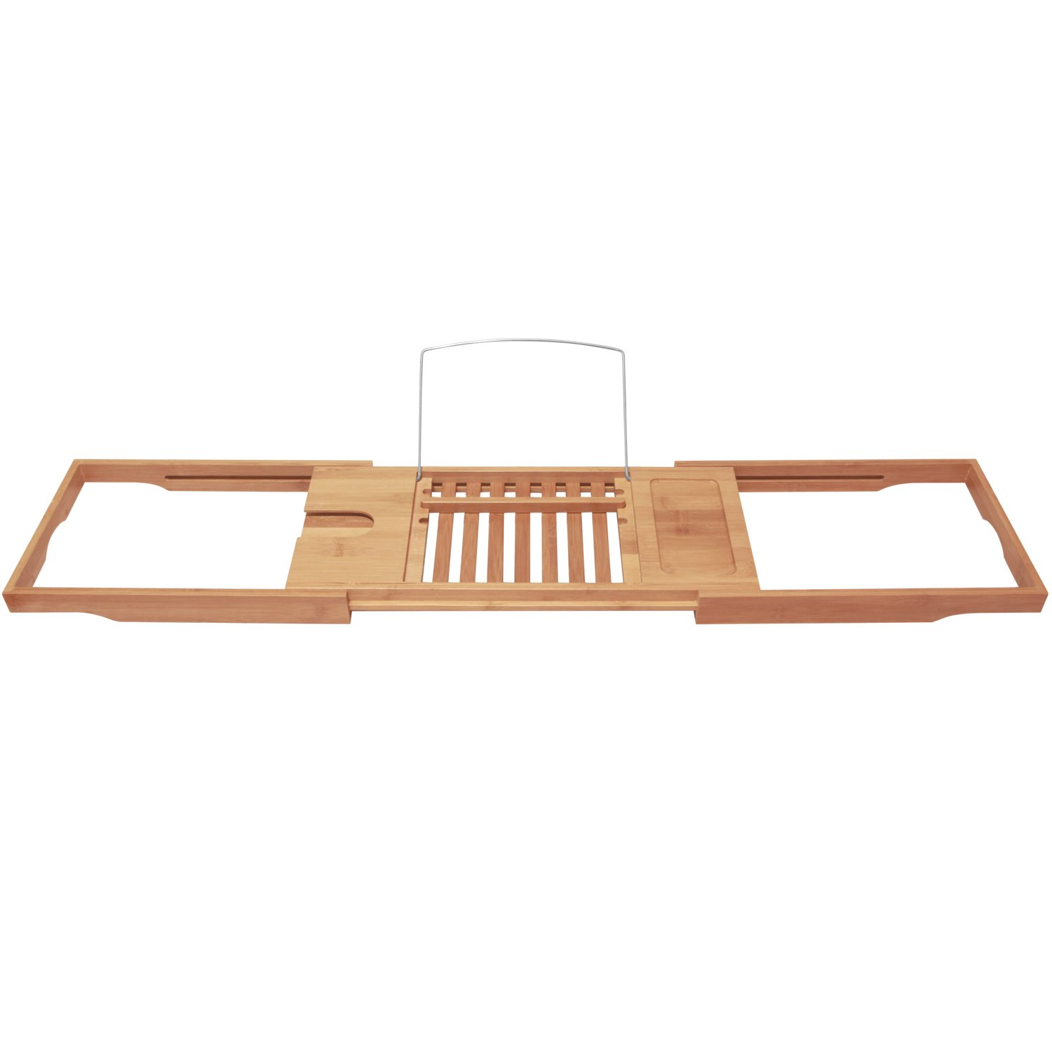 Bamboo Bathtub Caddy with Extending Sides and Adjustable Book Holder by ToiletTree Products