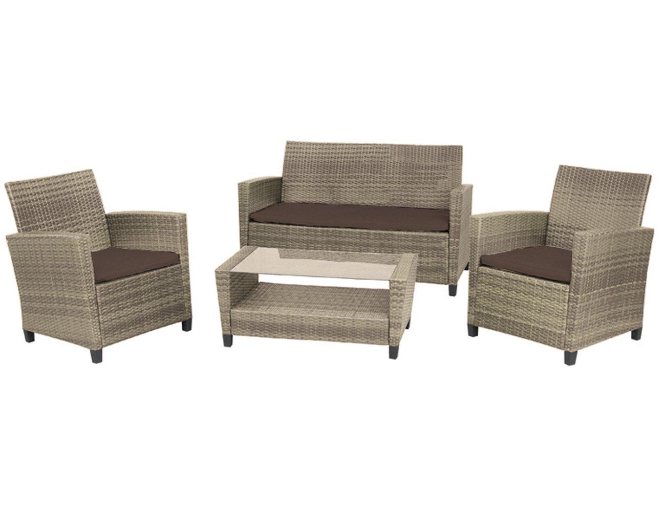 H.G. 933126 Lounge-Set Malmö, Aluminiumgestell, Kunststoffgeflecht bi-color sand, 2 x Sessel, 1 x Bank, 1 x Kaffeetisch online kaufen