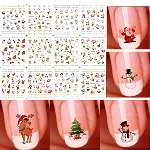 Bhbuy Christmas Snowflakes Snowmen 3D Nail Art Stickers (Nail Decals compare prices)