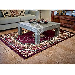 Quality Mats by Cosy House - Best Traditional and Oriental Rug for Kitchen, Door Entrance & Hallways, Durable Polypropylene Material Imported from Turkey - Easy Care Rugs (Kingdom Burgundy, 2 x 3)