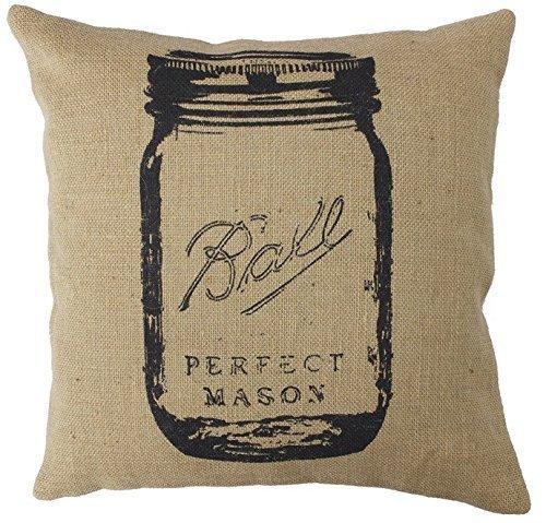 Joutletshop Decorative 18 X 18 Inch Cotton Linen Cloth Pillow Cover Cushion Case Country Feed Sack Mason Jar (Mason Jars Case compare prices)