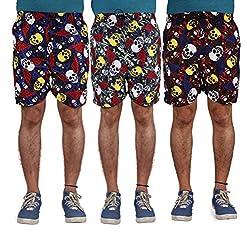 American-Elm Men's Multi Color Printed Shorts-Combo Of 3 (Medium)