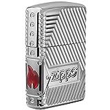 Zippo Bolts Design Pocket Lighter (Color: High Polish Chrome Bolts Design)