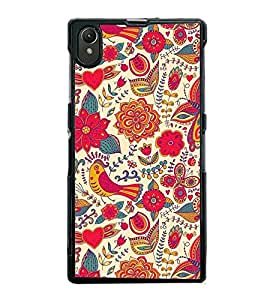 Fuson Premium 2D Back Case Cover Pink Pattern With Yellow Background Degined For Sony Xperia Z1::Sony Xperia Z1 L39h