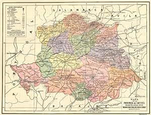 SPAIN: Mapa de la Provincia de Caceres, 1913