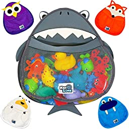 BATH TOY ORGANIZER, Shark - Safe & Mildew-Free - Perfect for Baby Bath Toys - Organizer w/ FREE Suction Cup for Sturdy Bath Toy Storage - Choose from FIVE Different Animals!