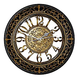 Color Map 12 Inch Silent Wall Clocks European-style Vintage Retro Antique Royal Style Resin Wall Clock, Creative Home Living Room Boutique Hotel Mute Wall Clock (gold)