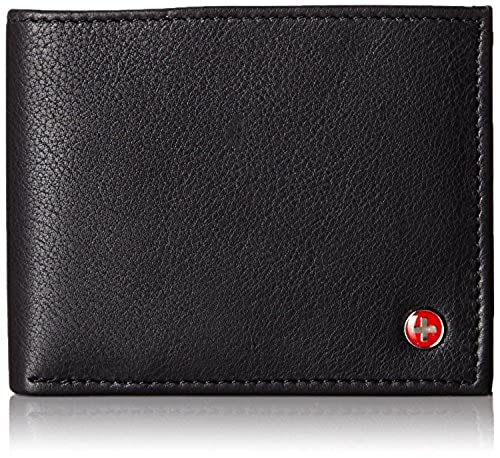04. Alpine Swiss Mens Leather Flipout ID Wallet Bifold Trifold Hybrid