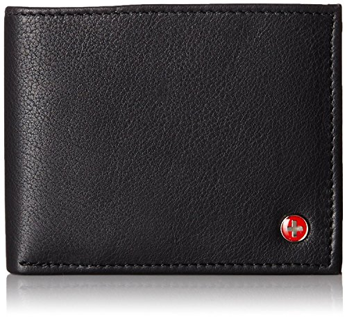RFID SAFE Alpine Swiss Men's Leather Wallet Hybrid Bifold with Flipout ID Black (Mens Wallets Id Protection compare prices)