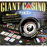 Excalibur Giant Casino 7-in-1 Set with 16-Inch Roulette Wheel, 6 Layouts for Texas Hold'em, Blackjack, Roulette, Pai Gow Poker, Baccarat, Craps, 100 Chips & Accessories ~ Excalibur