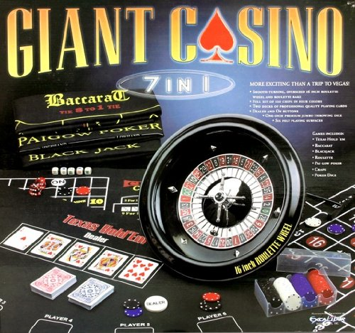 Best Price Excalibur Giant Casino 7-in-1 Set with 16-Inch Roulette Wheel, 6 Layouts for Texas Hold'e...