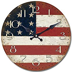 Yosemite Home Decor CLKA7189 Circular Iron Framed Distressed Wall Clock with Glass, White
