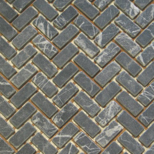 Stone Mosaic Tile Backsplash Herringbone Black Marble Tile 12