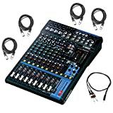 Yamaha MG12XU 12 Input Analog Mixer with Microphone Preamps , Dedicated Stereo Line Channels , Aux Sends, EQ and Digital Effects with 4 Microphone Cables and Stereo Breakout Cable, Black