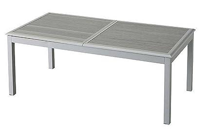 Table extensible en aluminium avec plateau à lattes - Dim : L 200/300 x P 100 x H 75 cm - PEGANE -
