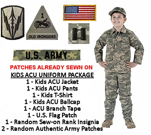 Kids Army Uniform Costume Package with Patches Sewn On - ACU DIGITAL
