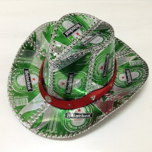 Heineken Beer Can Cow Boy Hat Recycled Box Handmade Fancy Party Man Woman  Green Red 817448360a94