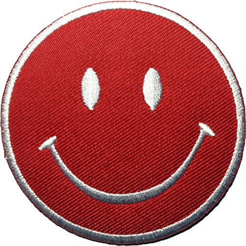 Funny Smiley Smile Happy Red Face Logo Badge DIY Applique Embroidered Sew Iron on Patch by Ranger Return (Velcro Industrial Strength Sew On compare prices)