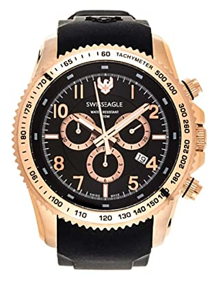 Swiss Eagle Reloj Field Landmaster negro / oro rosa