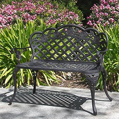 Best Choice Products® Patio Garden Bench Cast Aluminum Outdoor Garden Yard Solid Construction New 0