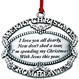 Mooney Pewter Merry Christmas from Heaven Ornament & Bookmark - MOONE01-MTC