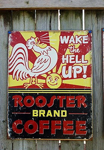 Rooster Brand Coffee Distressed Retro Vintage Tin Sign