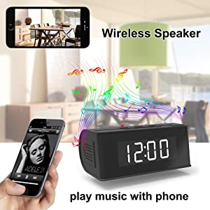 Hidden Camera WiFi Alarm Clock,FUVISION Wireless Speaker Covert Camera with Night Vision,Motion Detection Nanny Camera,SD Card Record,App Live Control and Viewing Security Camera for Home and Office