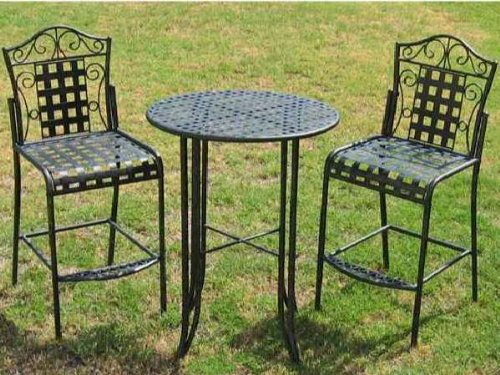 Black Friday MANDALAY BAR BISTRO SET BAR TABLE And 2 CHAIRS NO ARMS In ANTI